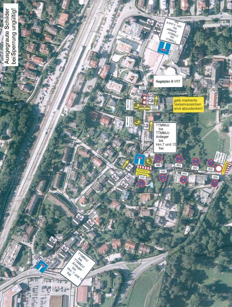 , Vollsperrung eines Teilstückes der Bräuhausstraße wegen Neubau von Kanalhausanschlüssen
