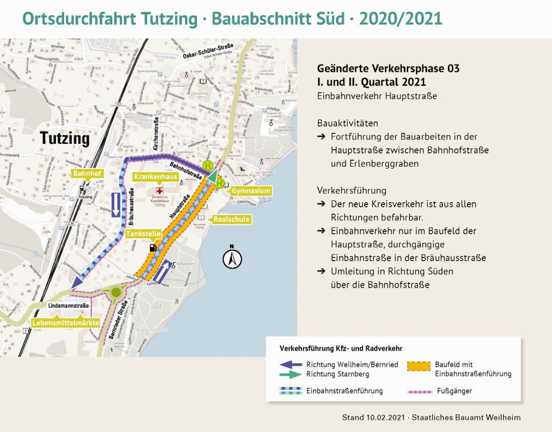 Erneuerung der Ortsdurchfahrt Tutzing: Start der Bauarbeiten nach der Winterpause in KW 7