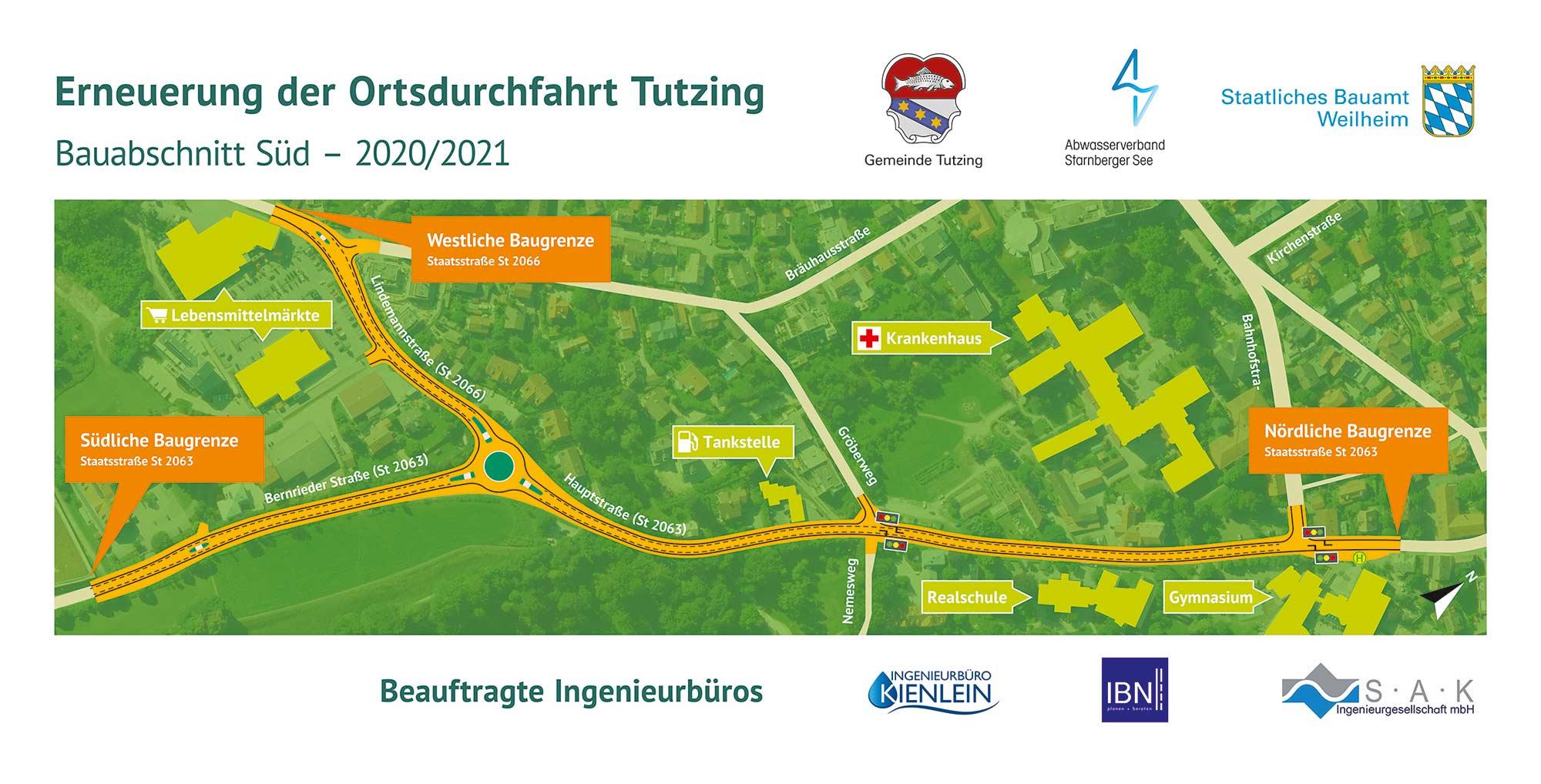 StBAWM-OD-Tutzing-Bauabschnitt-Sued-Banner-mit-Lageplan