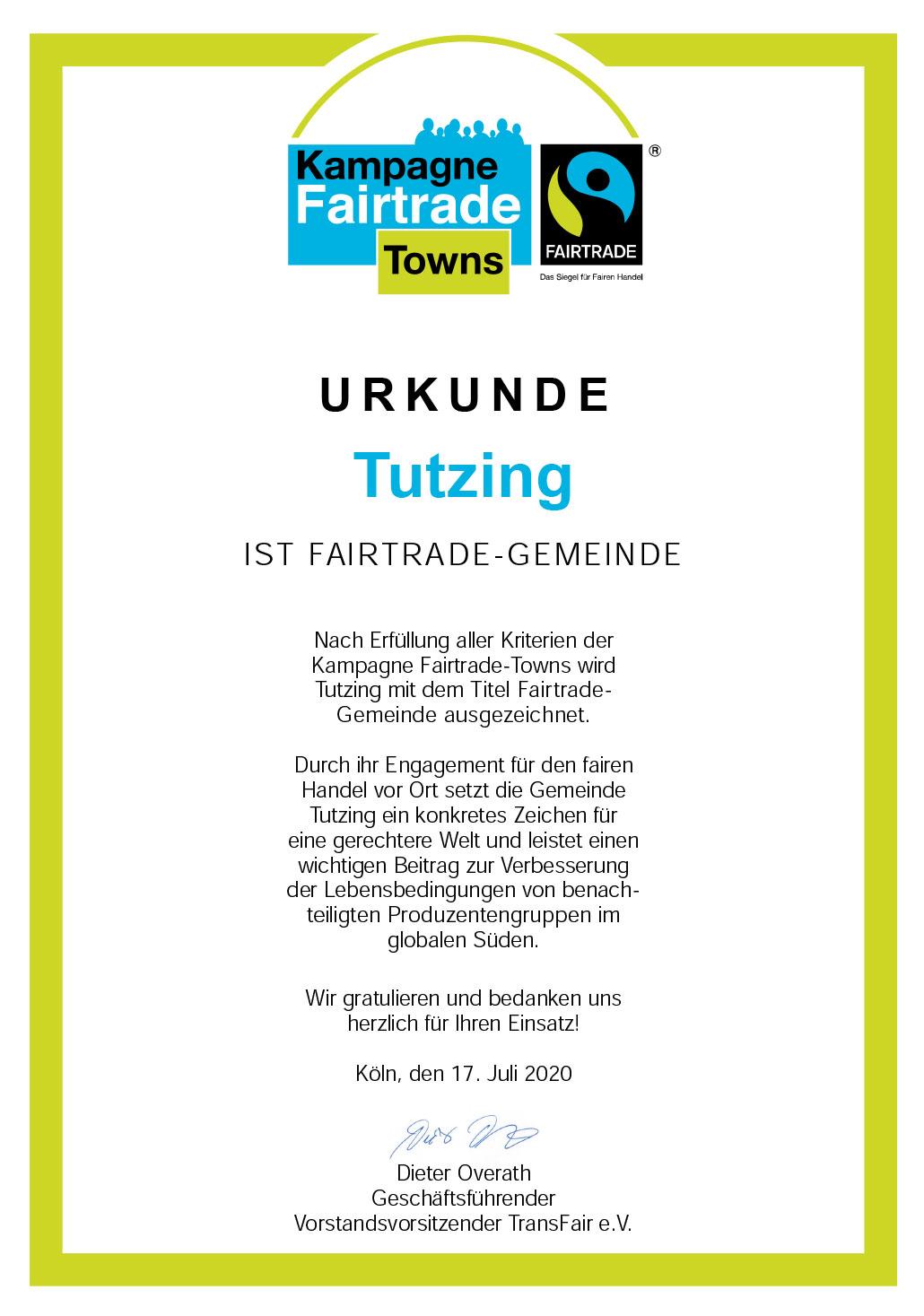 Fairtrade Urkunde Tutzing
