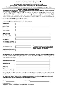 Antrag Auf Erteilung Eines Wahlscheins Mit Briefwahlunterlagen