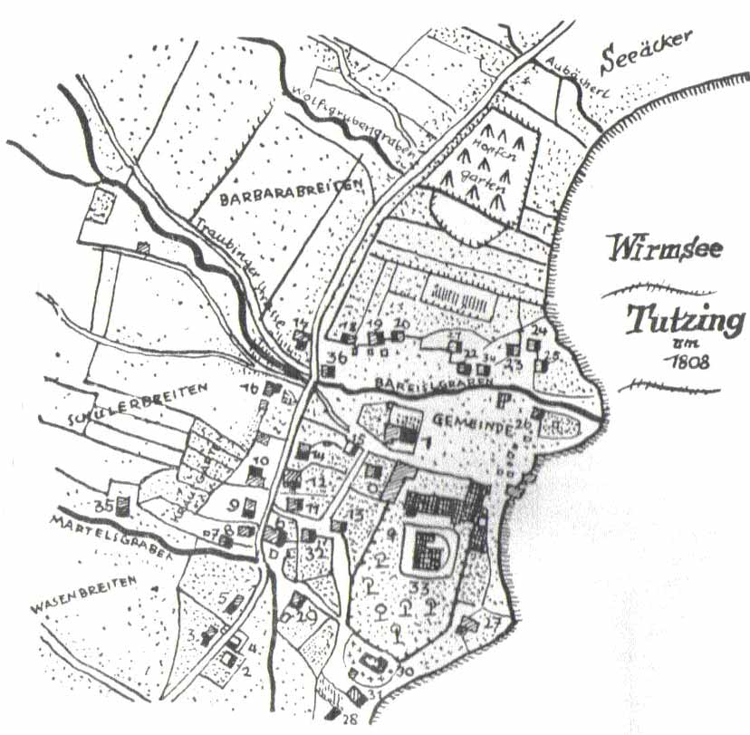 Alte Karte Tutzing