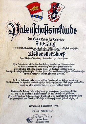 Patenschaftsurkunde Tutzing Niederebersdorf